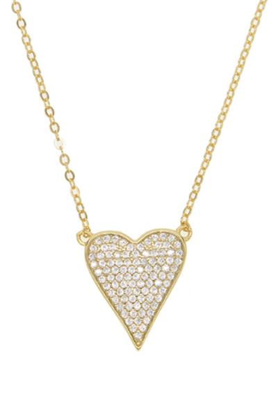 PAVE HEART NECKLACE GOLD