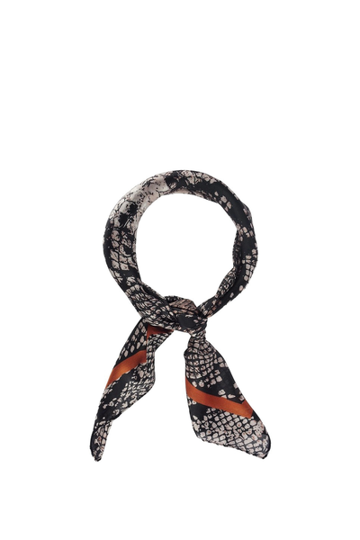 PYTHON PRINT SCARF BLACK WITH RUST