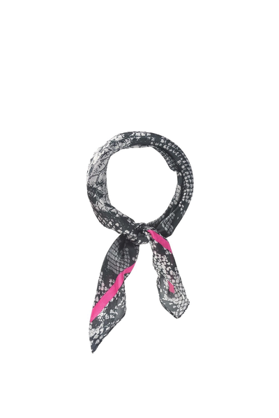 PYTHON PRINT SCARF GRAY WITH HOT PINK