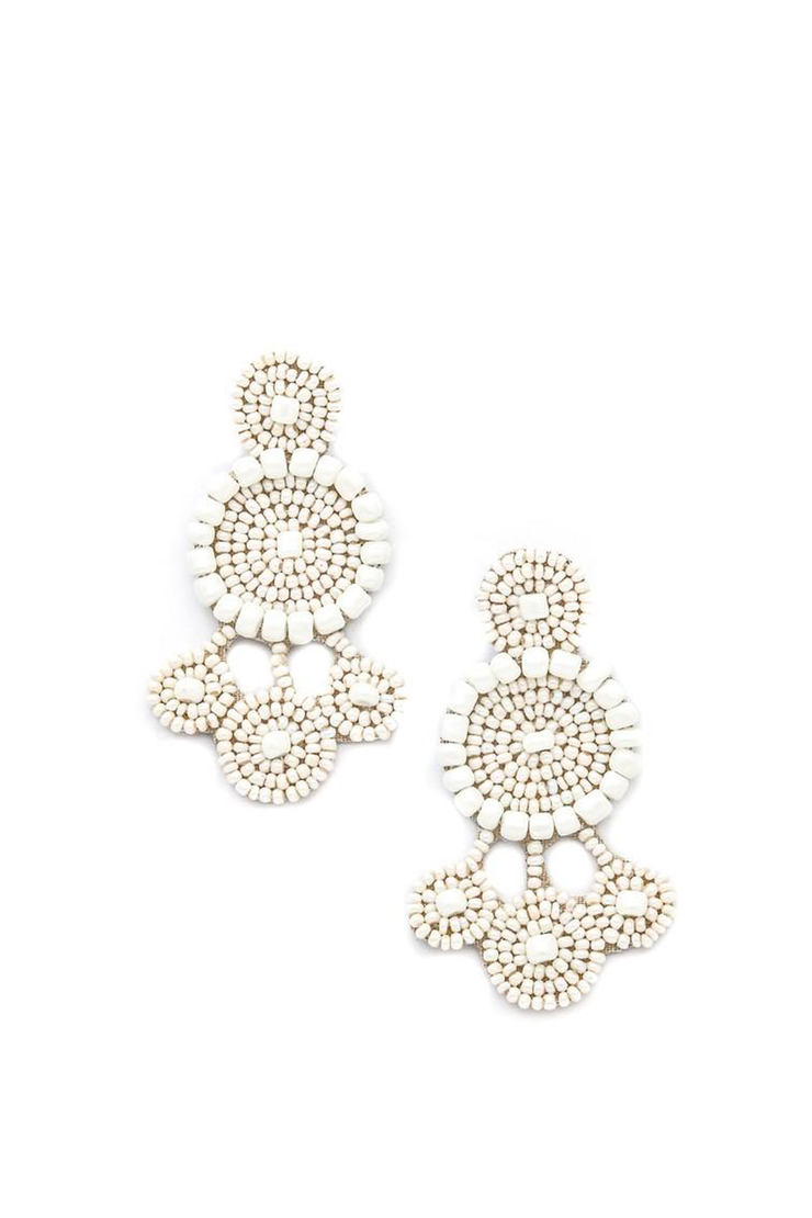 BEADED DANGLE EARRING WHITE
