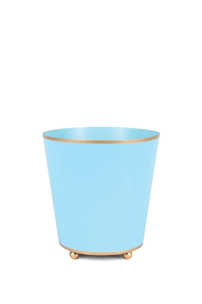 COLOR BLOCK ROUND CACHE POT AQUA 4""