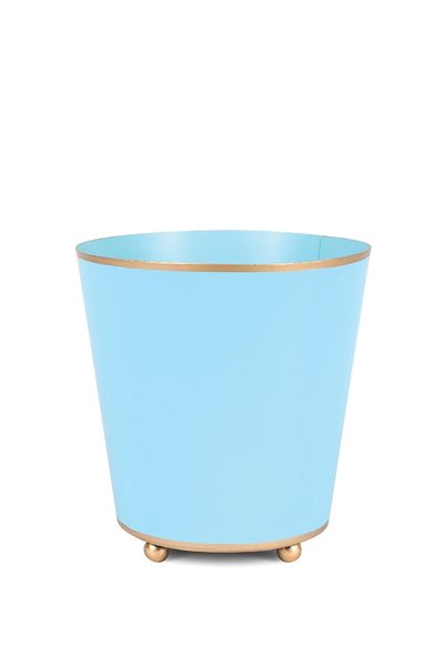 COLOR BLOCK ROUND CACHE POT AQUA 6""