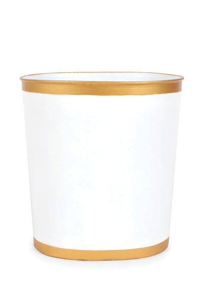 COLOR BLOCK OVAL WASTEBASKET WHITE