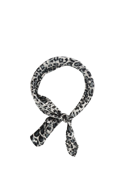 LEOPARD AND HORSE BIT PRINT SCARF BLACK