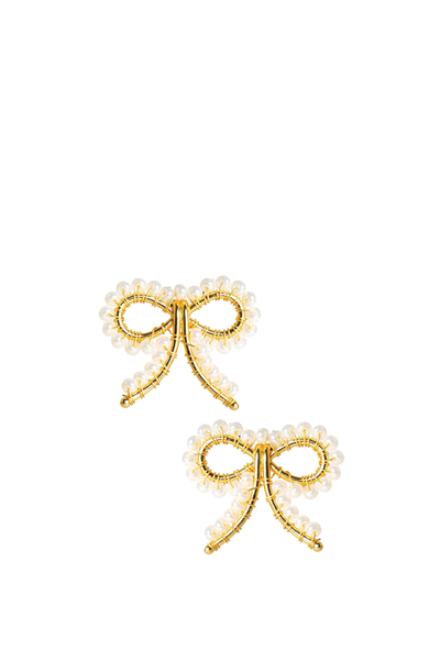 LISI LERCH LITTLE BOW EARRINGS PEARL