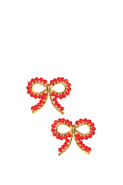 LISI LERCH LITTLE BOW EARRING RED