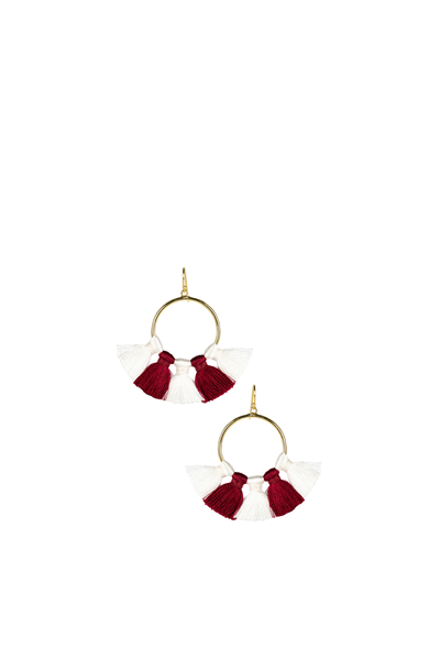 IZZY GAMEDAY EARRINGS BURGANDY AND WHITE
