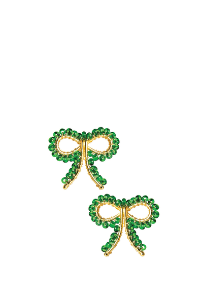 LISI LERCH LITTLE BOW EARRING EMERALD