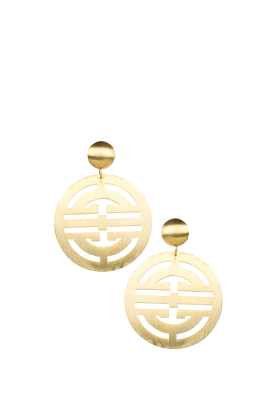 LISI LERCH ZOEY EARRINGS BRUSHED GOLD