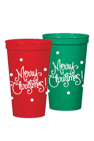 MERRY CHRISTMAS STADIUM CUPS RED + GREEN