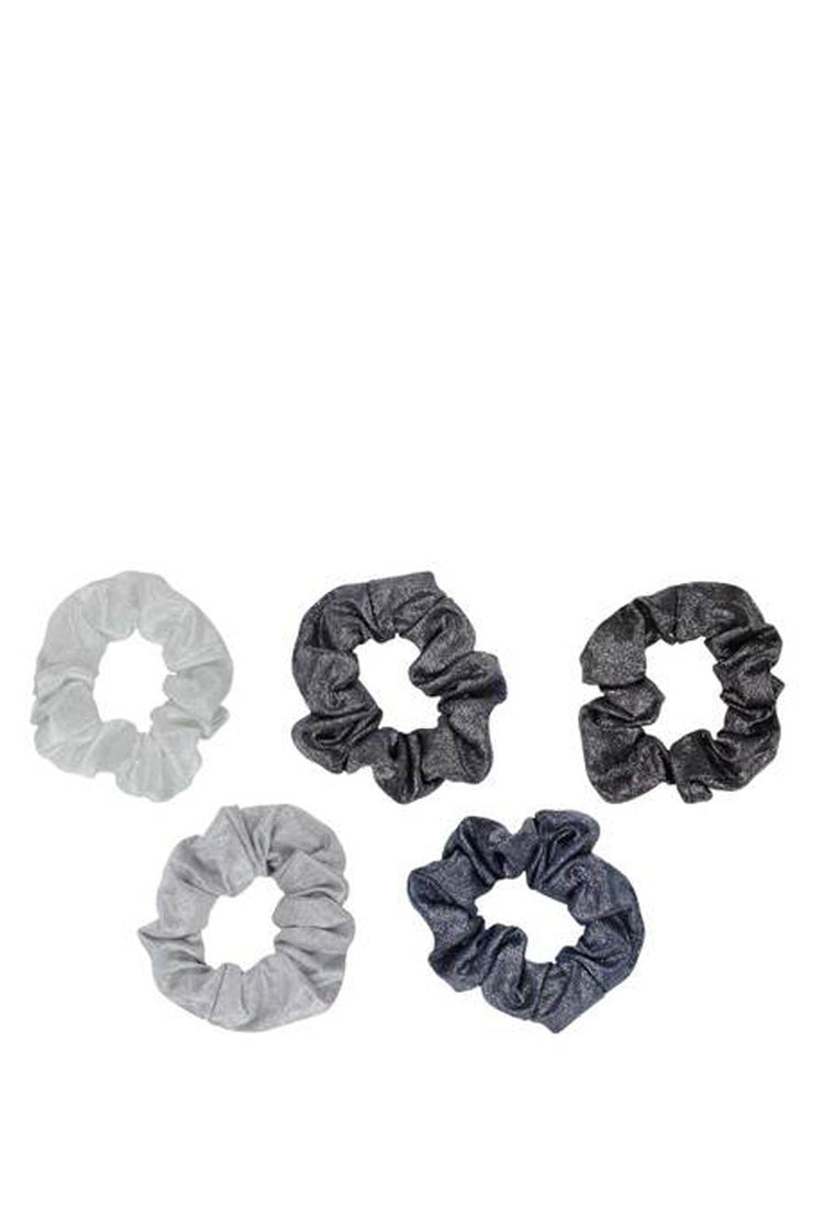 METALLIC SCRUNCHIES BLACK+GRAY