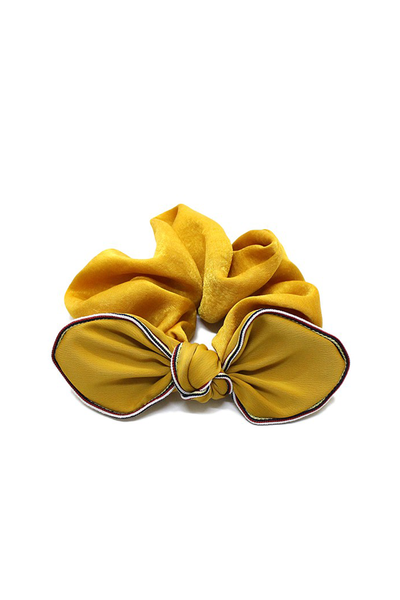 SILKY SCRUNCHIE WITH BOW MUSTARD