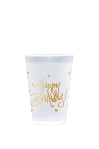 HAPPY BIRTHDAY FROSTED REUSABLE CUPS