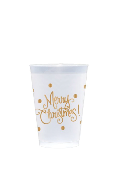 MERRY CHRISTMAS DOTS FROSTED REUSABLE CUPS
