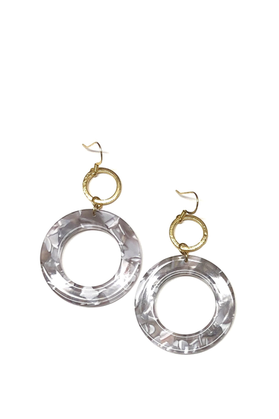 CLAIRE DOUBLE CIRCLE EARRINGS GRAY