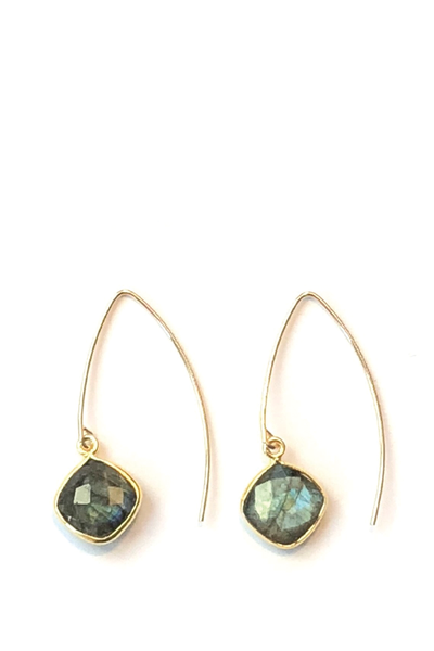 LABRADORITE V-SHAPED EARRINGS