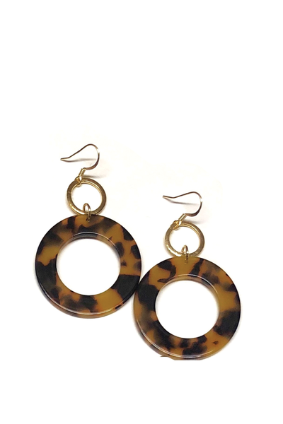 CLAIRE DOUBLE CIRCLE EARRINGS TORTOISE