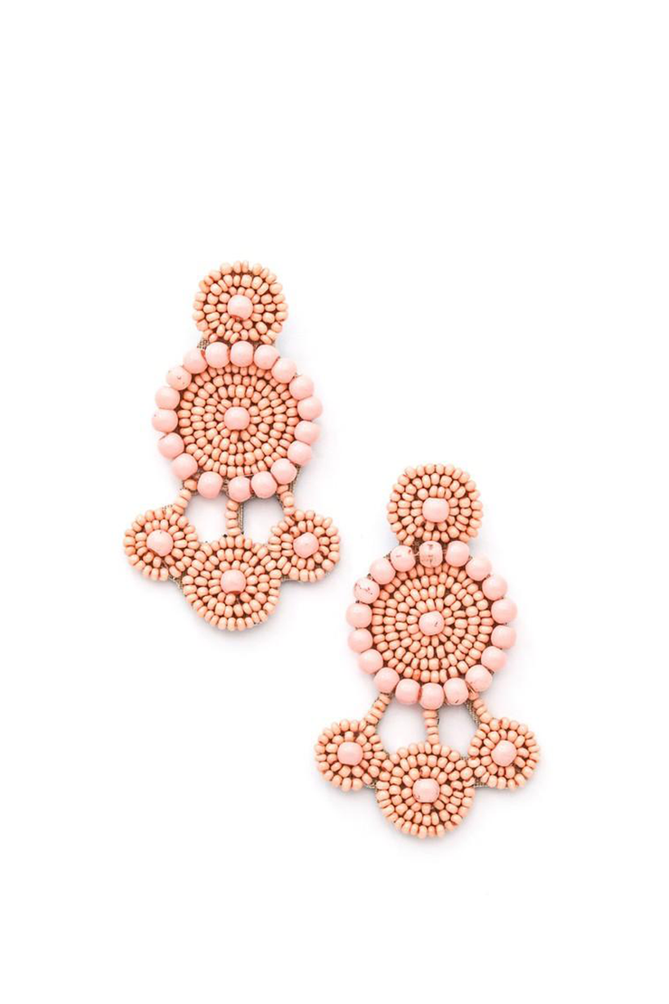 BEADED DANGLE EARRING BLUSH