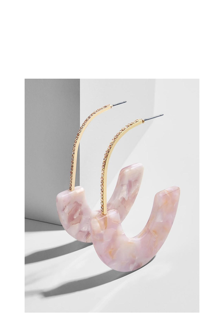 PAVE FAIDRA RESIN DROP EARRINGS BLUSH