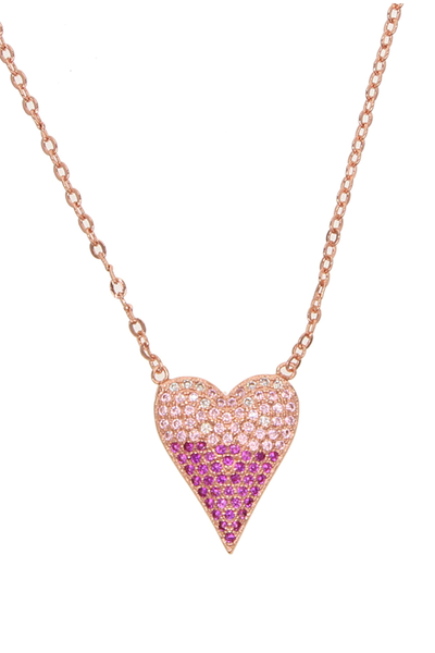 ROSY HEART PENDANT NECKLACE