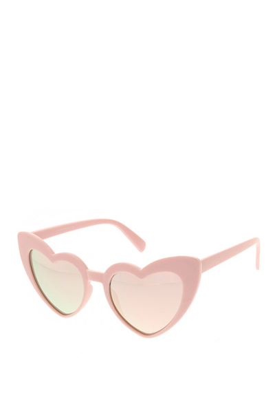 HEART SUNGLASSES PALE PINK MIRROR