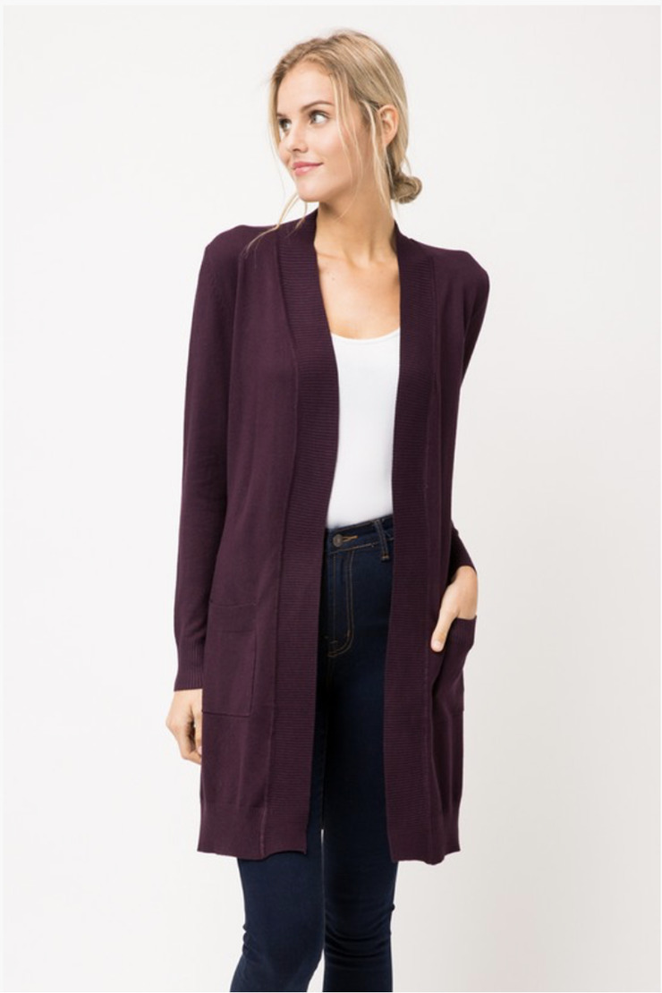 LONG CARDIGAN DARK PURPLE
