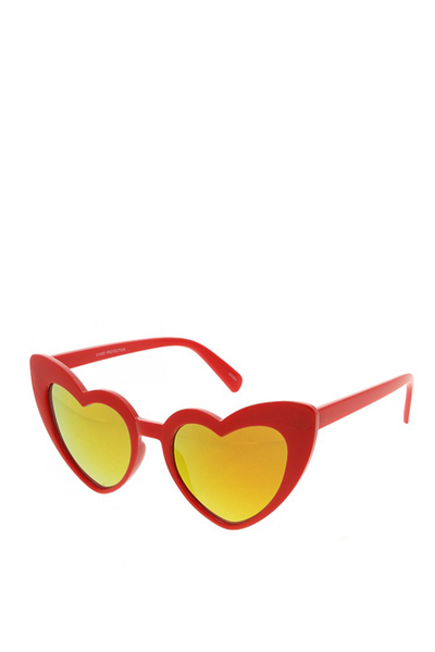 HEART SUNGLASSES RED MIRROR