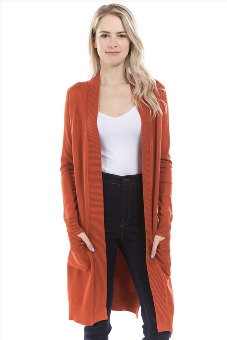 LONG CARDIGAN BURNT ORANGE