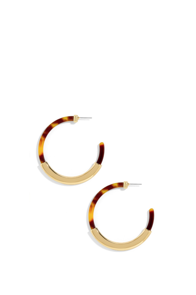 TASSIANA RESIN HOOP EARRINGS TORTOISE