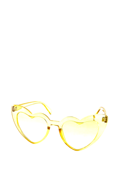 HEART SUNGLASSES YELLOW CRYSTAL