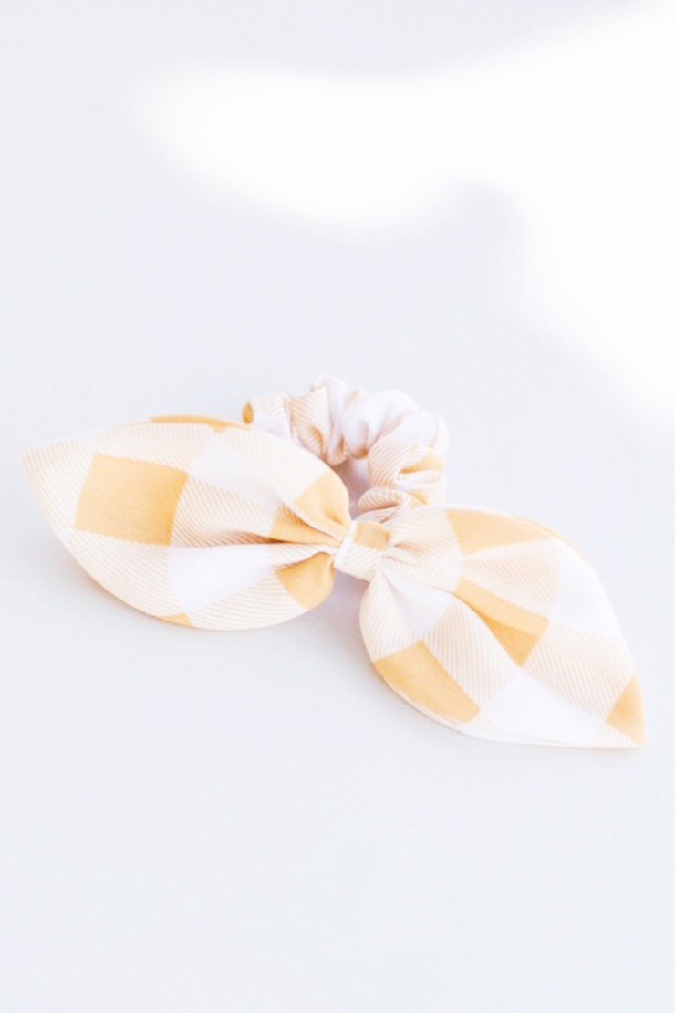 YELLOW PLAID HAIR TIE SCRUNCHIE