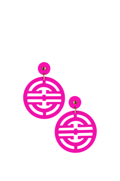ZOEY EARRINGS HOT PINK