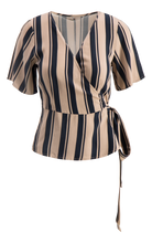 Load image into Gallery viewer, Hug Wrap Top - Navy/Sand Stripe