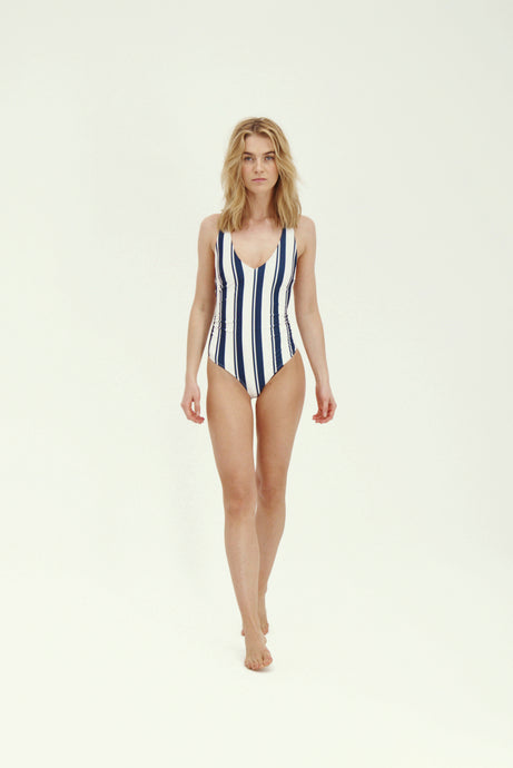 Joy Swimsuit - Navy/White Stripe