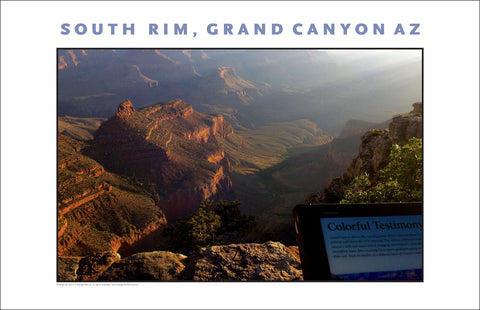 Sun Streaming Testimony South Rim, Grand Canyon, AZ Photo Wall Art #1124