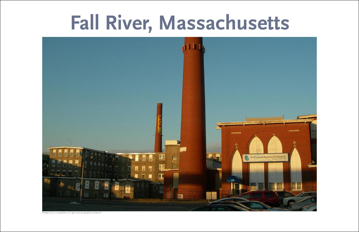 Wall Art, Fall River, MA, Mill Stacks at Sunset, Digital Photo #223