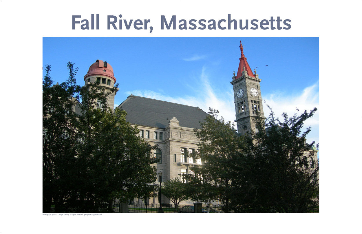 Wall Art, Fall River, MA Dramatic View of Court House, Digital Photo #229