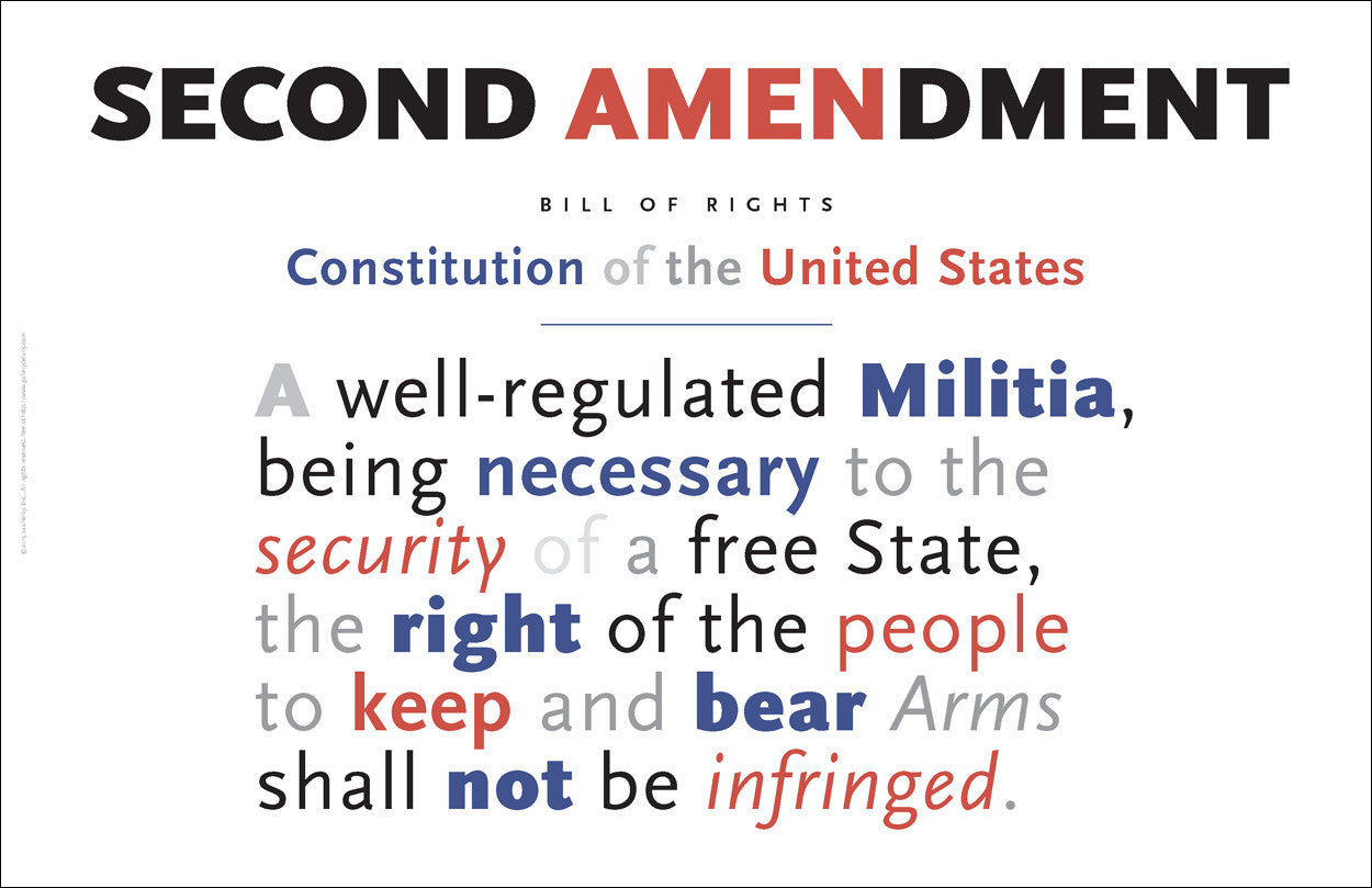 Second Amendment to the US Constitution Wall Art #A163