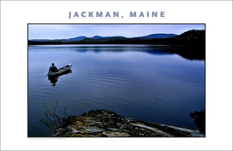Man in Canoe #1... Jackman Maine, Place Photo Poster Collection #619