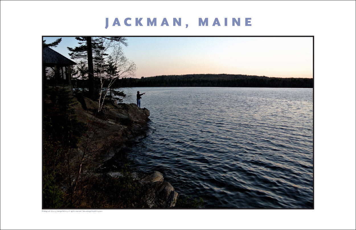 Man Trout Fishes Off Point... Jackman Maine, Place Photo Collection #649