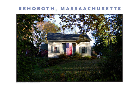 Wall Art, Barn & American Flag, Rehoboth, MA on Canvas #904