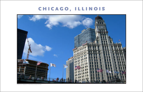 Patriotic American Cityscape...Here in Downtown Chicago Photo Wall Art #997