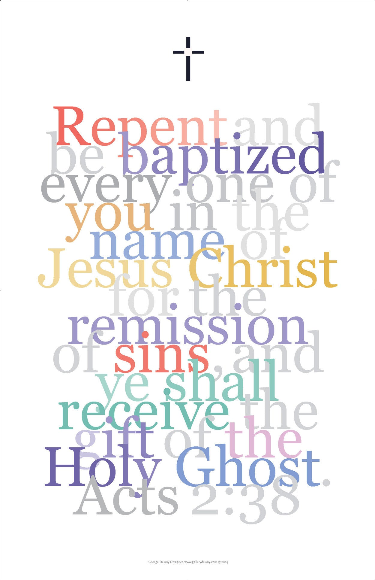 "Biblical Digital Art Print #12, Acts 2:38, ""Repent and be baptized..."""
