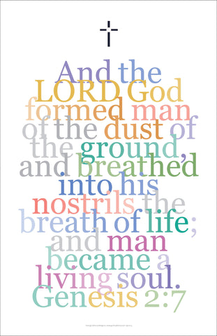 "Bible Digital Art Print #17, Genesis 2:7. ""And the Lord, God formed man..."""