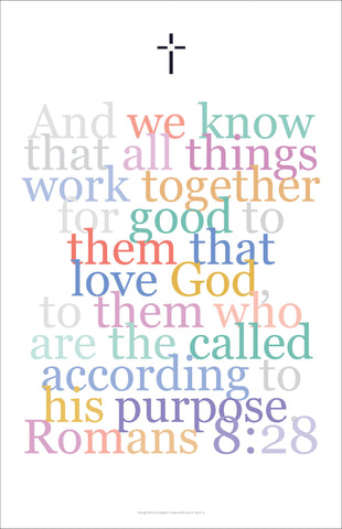 "Bible Digital Art Print #23, Romans 8:28 ""And we know that all things work together..."""