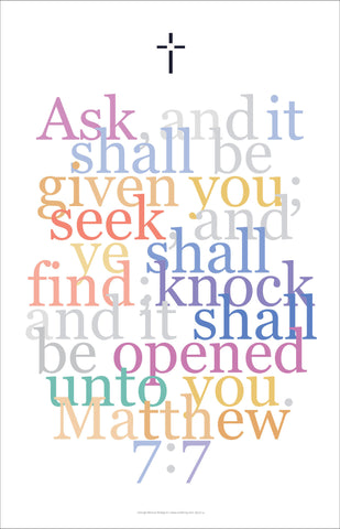 "Bible Digital Art Print #24, Matthew 7:7, ""Ask and it shall be given you..."""