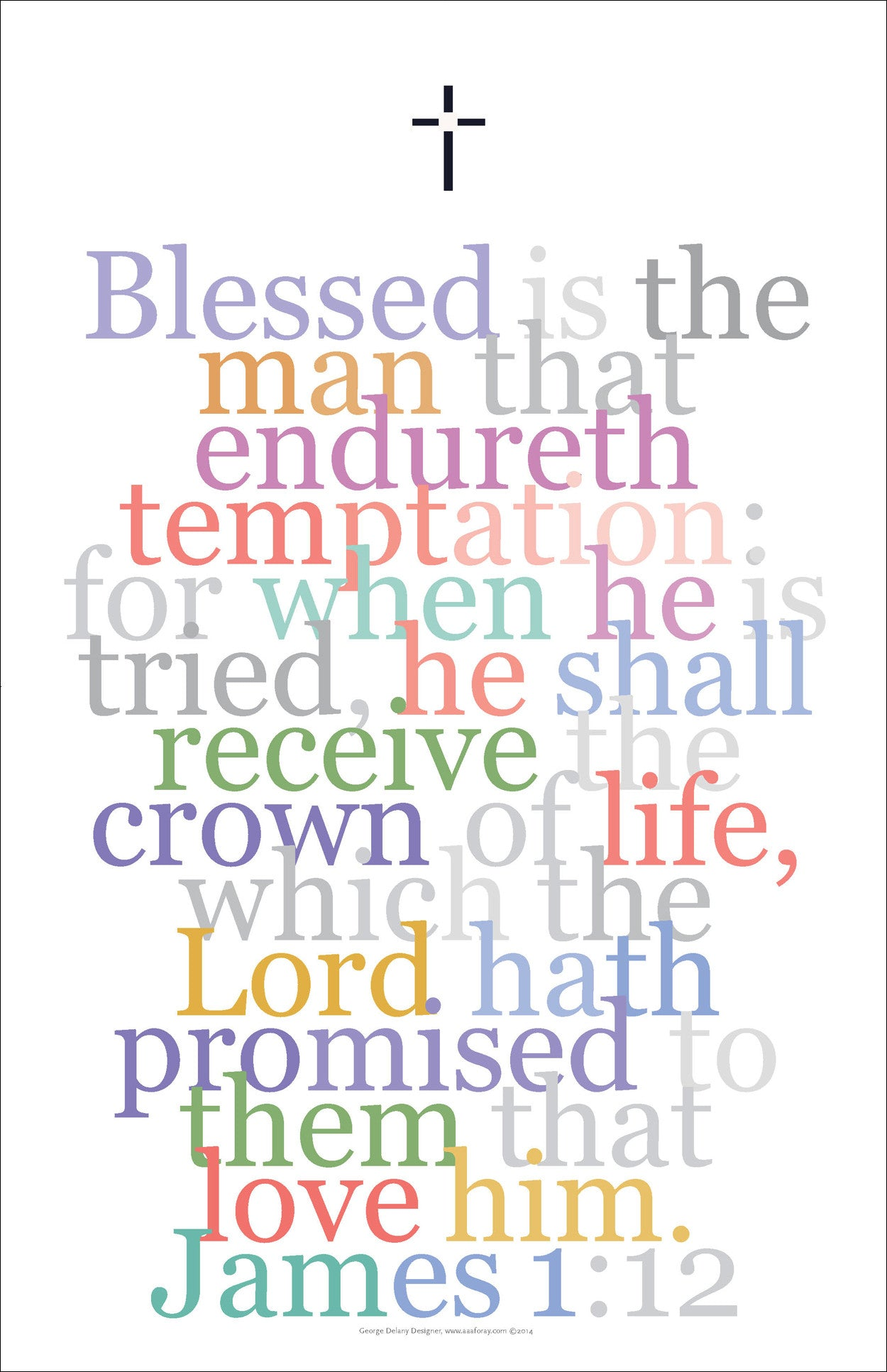 "Bible Digital Art Print #28, James 1:12 ""Blessed is the man that endureth temptation..."""
