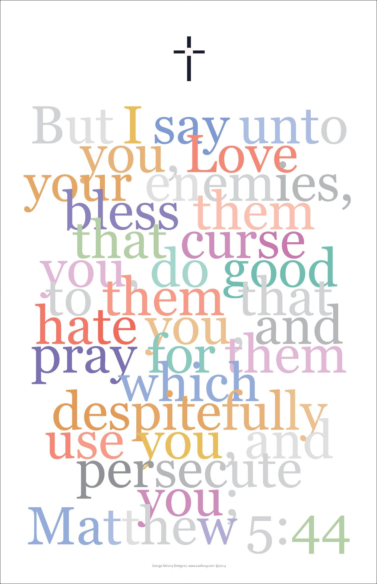 "Bible Digital Art Print #30 Matthew 5:44, ""But I say unto you, love your enemies..."""