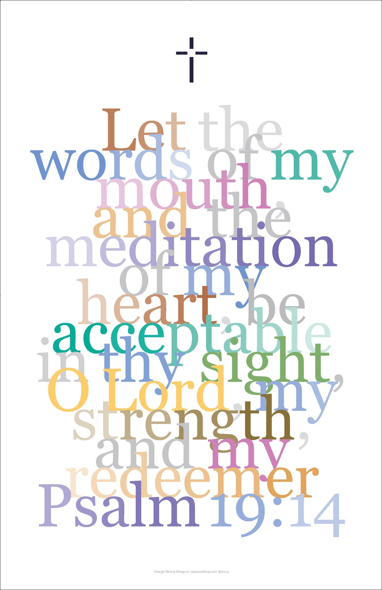 "Bible Digital Art Print #32, Psalm 19:14 ""Let the words of my mouth..."""