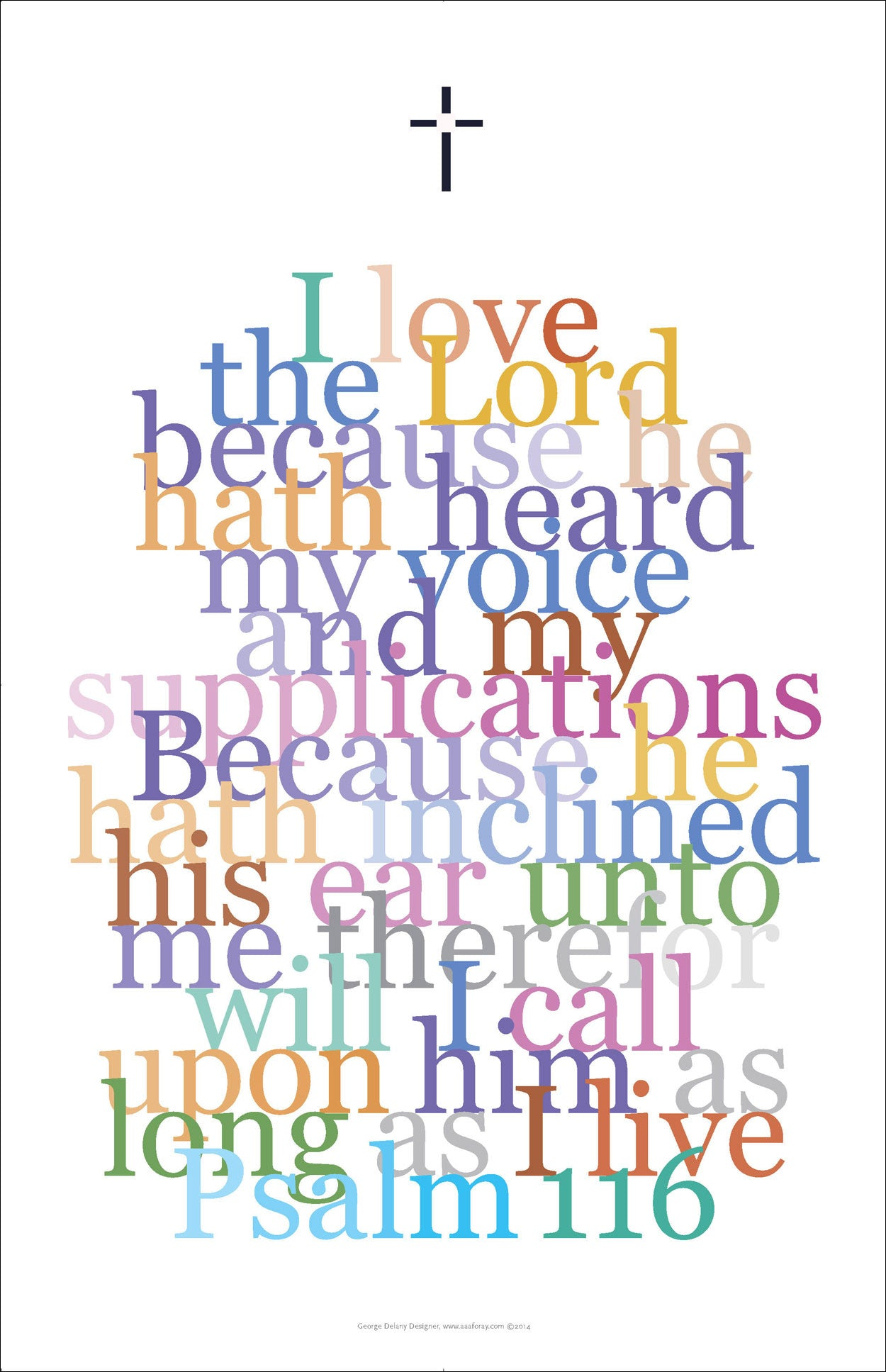 "Bible Digital Art Print #34, Psalm 116 ""I love the Lord..."""